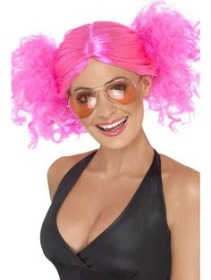 Pink Bunches Wig Smiffys 42006 Adult Fancy Dress Costume Wigs for sale online Disco Fancy Dress, 1980s Fancy Dress, Fancy Dress Wigs, 80s Dress, Dress Up Costumes, Costume Wigs, 80s Costume, Costume Ideas, Costumes
