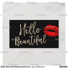 Hello Beautiful Makeup Artist Gold Typography Business Card