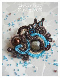 Soutache Brooch, Handmade Jewelry, Blue Brown, Soutache Jewelry, OOAK Brooch,Cantara Model by AdityaDesign