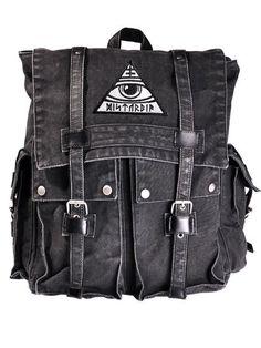All Seeing Eye Runen rugzak zwart/grijs - One size - Disturbia Rucksack Bag, Backpack Purse, Grunge Backpack, Mochila Grunge, Sac Week End, Mode Grunge, Snap Bag, Estilo Grunge, Canvas Backpack