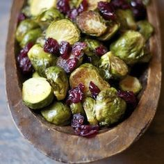 Roasted Brussels Sprouts with Balsamic Vinegar and Dried Cranberries. A simply beautiful dish