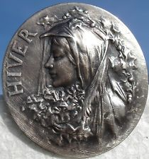 "MARKED~""HIVER""FRENCH=WINTER~NOUVEAU~METAL 1940s VINTAGE ANTIQUE PICTURE BUTTON"