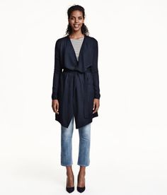 Check this out! Long, soft, fine-knit cardigan with wool content. Draped lapels, no buttons, and tie belt at waist. - Visit hm.com to see more.