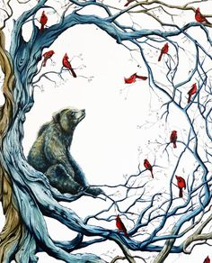 Candice Tripp Love, love, love Bear pics... and the red birds give this pic the motion for the Bear to contemplate...