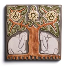 Grove Bunny Figurine – Rookwood If you love nature and want to display it proudly as a focal point in your home, look no further than the Grove Bunny tile. Craftsman Tile, Artist And Craftsman, Craftsman Decor, Azulejos Art Nouveau, Art Nouveau Tiles, Ceramic Tile Art, Art Tiles, Clay Tiles, Rookwood Pottery