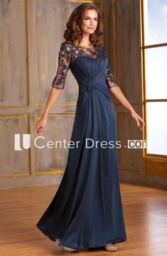 Half-Sleeved A-Line Long Mother Of The Bride Dress With Keyhole Back And Appliques - UCenter Dress