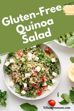 This easy to make gluten-free quinoa salad is a family favourite. Made with simple ingredients and a bunch of fresh herbs it is a fresh salad that is perfect for lunch or as a side salad. Gluten Free Quinoa Salad, Cold Quinoa Salad, Salad Recipes Gluten Free, Meal Recipes, Lunch Recipes, Summer Recipes, Quinoa Health Benefits, Free Meal