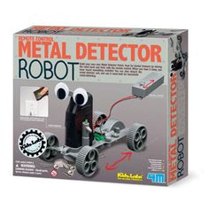 Metal Detector Robot — You can remote control it to search for metallic objects on the ground. The metal detecting unit can be detached from the robot body. Contains 1 chassis, 1 motor with wires and worm gear, 1 motor cover, 1 metal detector, 1 base plate for eyes, 2 stick-on eyes, 1 switch lever, 1 gear, 1 axle,1 short axle, 1 remote-control with switch and wires, 1 battery cover, 4 terminal caps, screws, washered screw, 1 connecting cable, 4 wheels and detailed instructions.