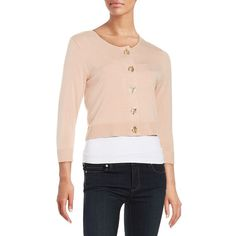 Calvin Klein Knit Toggle Cardigan ($52) ❤ liked on Polyvore featuring tops, cardigans, blush, layered tops, 3/4 length sleeve tops, pink top, three quarter sleeve cardigan and 3/4 sleeve tops