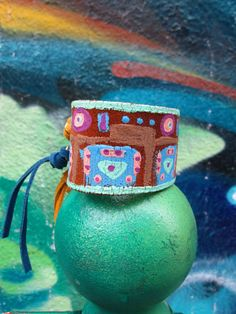 Eco patterned leather cuff bracelet sustainable by Soclichejewelry
