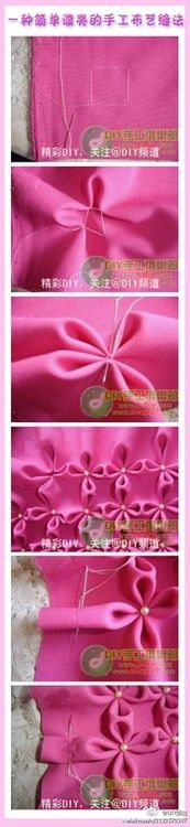 how to make flowers on fabric...could do for pillow covers