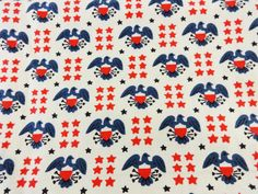 Vintage Cotton Fabric 50s Eagles and Stars by littlebitvintage2