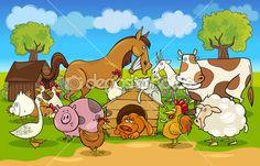 cena rural de desenhos animados com animais da fazenda — Ilustração de Stock #10196353
