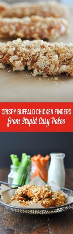 Crispy Buffalo Chicken Fingers | StupidEasyPaleo.com