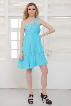 Eine Schulter umgedrehtes Dreieck Perlen Chiffon Apfel Juwel Mieder knielanges Homecoming Kleid