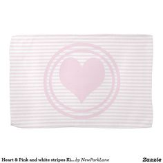 Heart & Pink and white stripes Kitchen towel