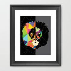 Lion Framed Art Print by Steph Dillon - $32.00