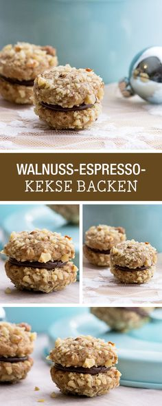 Leckere Kekse mit Walnuss und Espresso backen / cookie recipe: walnut espresso biscuits via DaWanda.com Mini Desserts, No Bake Desserts, Espresso Recipes, Cookie Time, Food Humor, Sweet And Salty, Christmas Baking, Diy Christmas, Sweet Recipes