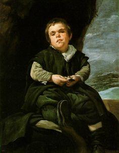 """he Dwarf Francisco Lezcano, Called """"El Nino de Vallecas""""  c. 1642-45 (130 Kb); Oil on canvas, 107 x 83 cm (42 1/8 x 32 5/8 in); Museo del Prado, Madrid; No. 1204"""