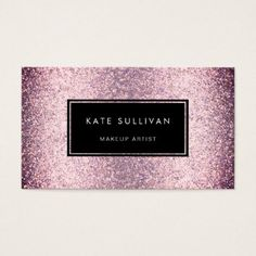 #makeupartist #businesscards - #glam faux pink purple glitter makeup artist business card