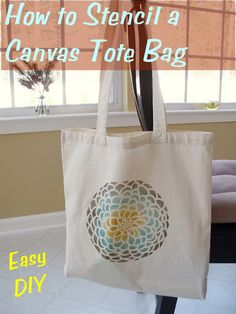 How to Stencil a Canvas Tote Bag: step-by-step with photos, this is one of my most popular DIYs!
