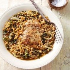 Chicken Thighs with Couscous & Kale - EatingWell.com