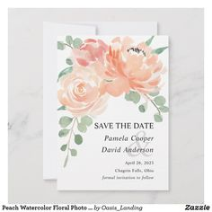 Shop Peach Watercolor Floral Photo Save the Date Card created by Oasis_Landing. Personalize it with photos & text or purchase as is! Pink Save The Dates, Wedding Save The Dates, Save The Date Cards, 90th Birthday Parties, Birthday Party Invitations, Fall Wedding Flowers, Flower Bouquet Wedding, Floral Watercolor, Wedding Stationery