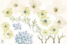 Watercolor alpine poppy wreath by GrafikBoutique on @creativemarket