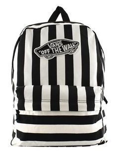 Vans Black and White Striped Realm Backpack