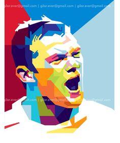 Wayne Rooney by Gumilar Pratama Adiatna Football Art, World Football, Manchester United Poster, Manchester City, England National Team, Vector Pop, Messi And Ronaldo, Soccer Stadium, Pop Art Portraits