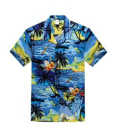 Men Hawaiian Aloha Shirt in Blue Sunset