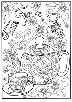 Time for a cuppa coloring page