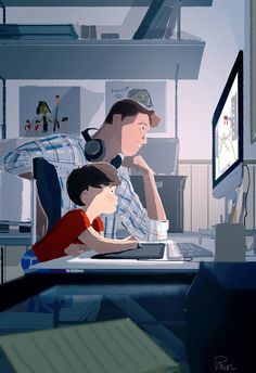 Art lessons.  - See daddy? THAT'S how you draw Doctor Octopus!!  - I see!!!  _ I can teach you good, right?  -Yup   A few years ago, my daughter was showing me how to draw on the computer , now my son is giving me drawing lessons for Marvel Superheroes!  #pascalcampion