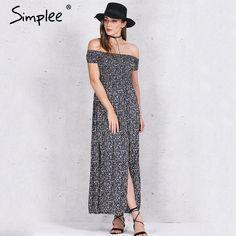 US $12.99 -- Simplee Apparel sexy side split off shoulder print summer dress High waist pleated maxi dress women Vintage beach dress vestidos aliexpress.com