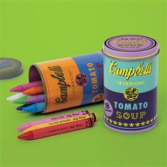 Galison Andy Warhol Soup Can Crayons Purple