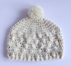 Cream Bobble Hat. Crochet winter Hat. Newborn to Adult Beanie. Christmas Gift for Her