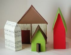 Make little cardboard houses from cereal boxes but you can use any kind of box (cookies, oatmeal, etc.) you have on hand. Use them to create...
