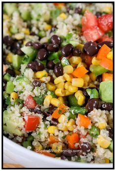 Everyone has asked me for a copy of this recipe! Loaded with fresh flavors, this Black Bean Quinoa Salad features all of our favorite veggies in a zesty lime dressing! Quinoa Salad Recipes Easy, Healthy Vegetable Recipes, Vegetarian Recipes, Quinoa Bean Salad, Bean Salads, Quinoa Rice, Avocado Recipes, Veggie Food, Qinuoa Recipes
