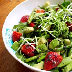 Asparagus, strawberry and greens salad with poppyseed dressing