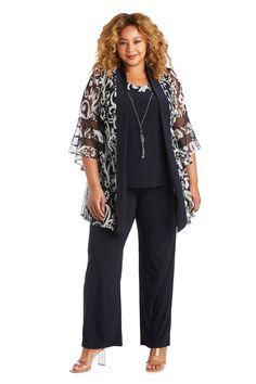 R&M Richards Plus Size Formal Pant Suit 5902W   The Dress Outlet Plus Size Formal Dresses, Plus Size Outfits, Formal Pant Suits, Dresser, Chiffon Jacket, Plus Size Pants, Review Dresses, Layered Look, Blouse Styles