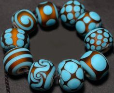 Glass Lampwork Beads Handmade Turquoise Topaz by RadiantGlassWorks