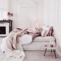 Pretty Little Details — Dreamy neutral blush bedroom. Parisian...
