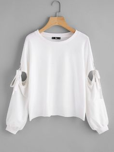 Shein Grommet Detail Tied Open Sleeve Sweatshirt