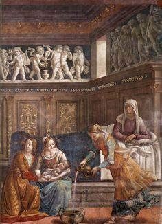 GHIRLANDAIO Domenico, Birth of Mary (detail) 1486-90. Fresco, Cappella Tornabuoni, Santa Maria Novella, Florence