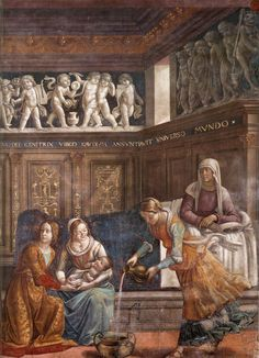 GHIRLANDAIO, Domenico Birth of Mary (detail) 1486-90 Fresco Cappella Tornabuoni, Santa Maria Novella, Florence