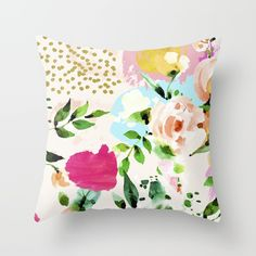 Floral Watercolor Abstract Art Indoor Throw Pillow