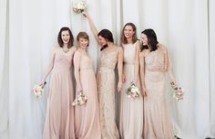 Blush bridesmaids- bridesmaids choose their own dress? What do you guys think? Bridesmaid Flowers, Wedding Bridesmaid Dresses, Wedding Attire, Wedding Gowns, Bhldn Wedding, Wedding Events, Bridesmaid Inspiration, Wedding Inspiration, Wedding Ideias