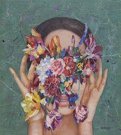 "Supersonic Art: Minas Halaj's ""Floral Minds. Illustration Art, Illustrations, Art Sketchbook, Aesthetic Art, Canvas Art Prints, Canvas Artwork, Art Inspo, Saatchi Art, Pop Art"