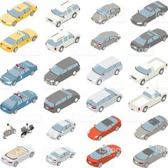 Flat isometric cars royalty-free stock vector art