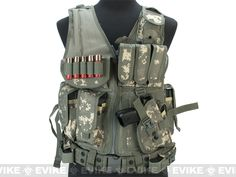Matrix Special Force Cross Draw Tactical Vest w/ Built In Holster & Mag Pouches - ACU, Tac. Gear/Apparel, Body Armor & Vests, ACU - Evike.com Airsoft Superstore